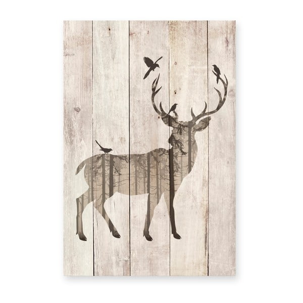 Tablou decorativ din lemn de pin Really Nice Things Watercolor Deer, 40 x 60 cm