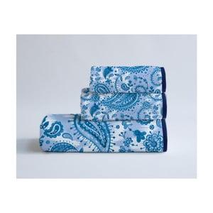 Sada 3 modrých ručníků z bavlny a mikrovlákna Surdic Parsley