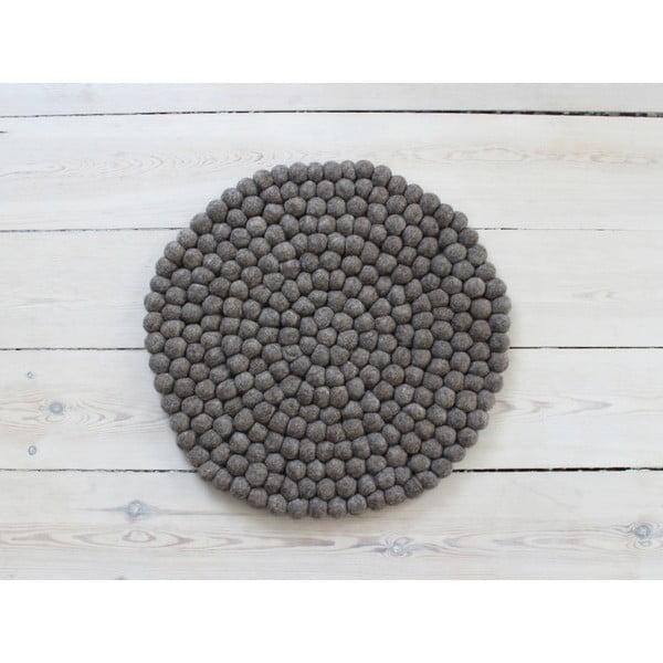 Ořechově hnědý kuličkový vlněný podsedák Wooldot Ball Chair Pad, ⌀ 39 cm