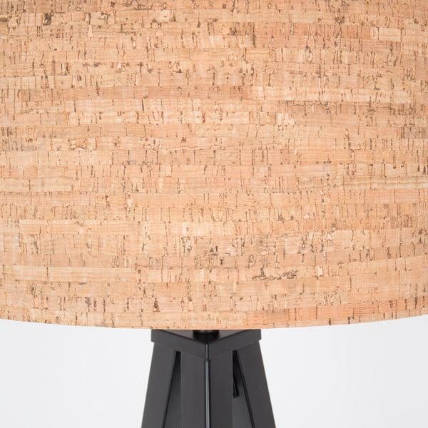Korková stojací lampa s černými nohami Zuiver Tripod