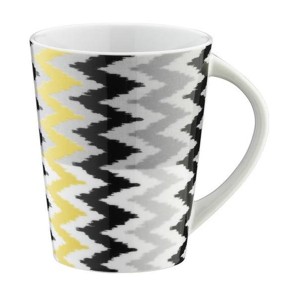 Porcelánový hrnček Black and Yellow Stripes, 400 ml