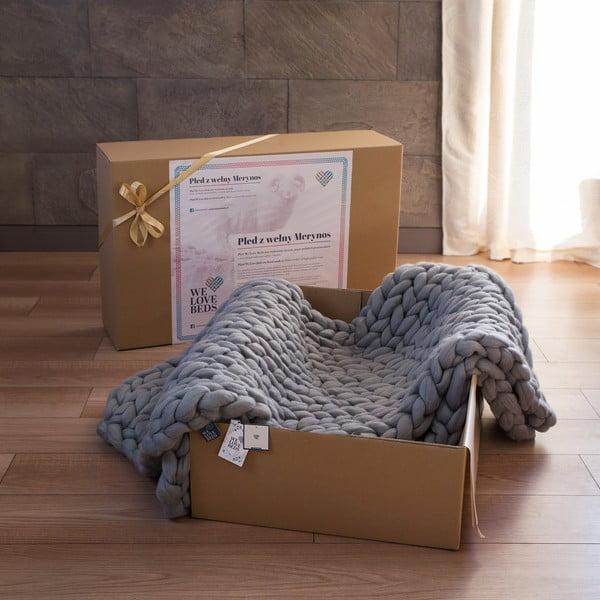 Pled tricotat manual din lână merino WeLoveBeds, 180 x 140 cm, gri