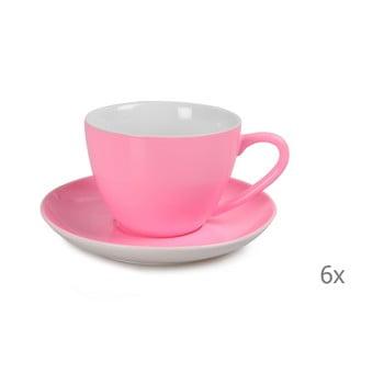 Set 6 căni din porțelan cu farfurioară Efrasia, roz, 200 ml