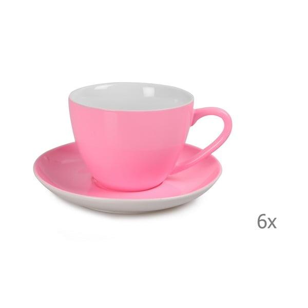 Sada 6 růžových porcelánových hrnků s podšálky Efrasia, 200 ml