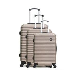 Sada 3 béžových cestovních kufrů na kolečkách Bluestar Vanity