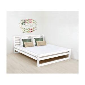 Bílá dřevěná dvoulůžková postel Benlemi DeLuxe, 200x160cm