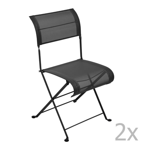 Sada 2 černých skládacích židlí Fermob Dune
