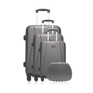 Set 3 šedých cestovních kufrů na kolečkách a kufříku Hero Travel