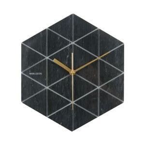 Černé hodiny Present Time Marble Hexagon