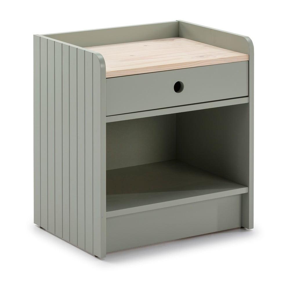 Zelený noční stolek s deskou z borovicového dřeva Marckeric Monte