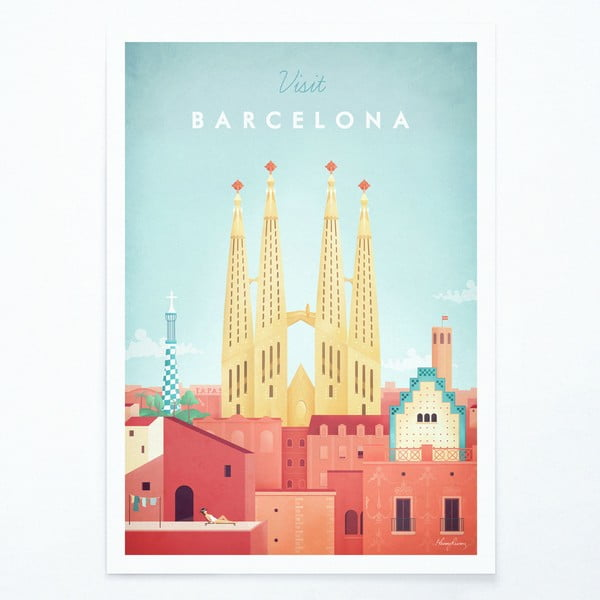 Poster Travelposter Barcelona, A3