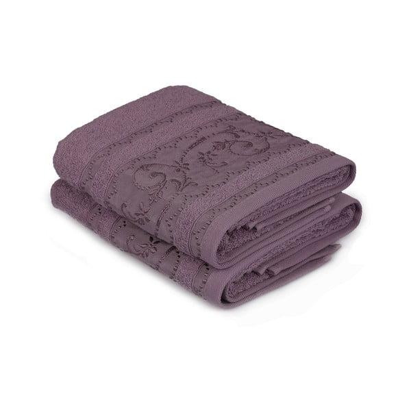 Komplet 2 fioletowych ręczników Yosemine, 50x90 cm