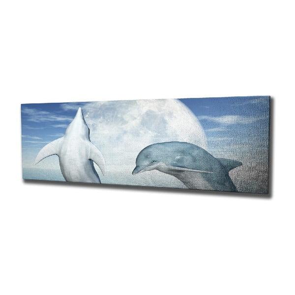 Nástěnný obraz na plátně Dolphins, 80 x 30 cm