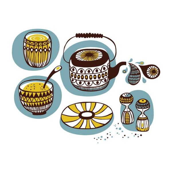 Samolepka Teapot and bowls 28x31 cm