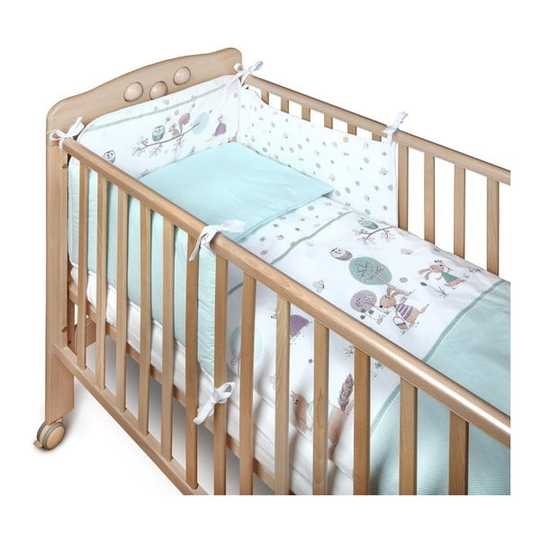 Zielony pikowany ochraniacz do łóżeczka dziecięcego YappyKids Forest Story