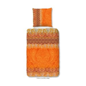 Povlečení na dvoulůžko z bavlněného saténu zouzou Claudia Orange, 200x200cm