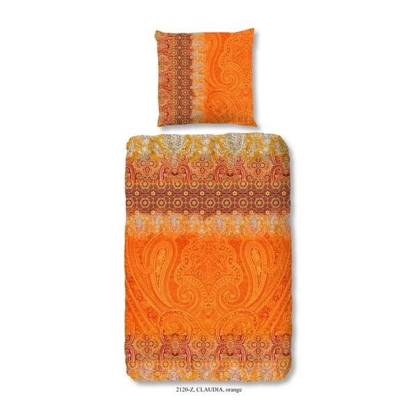 Lenjerie de pat din bumbac satinat zouzou Claudia Orange, 200x200cm
