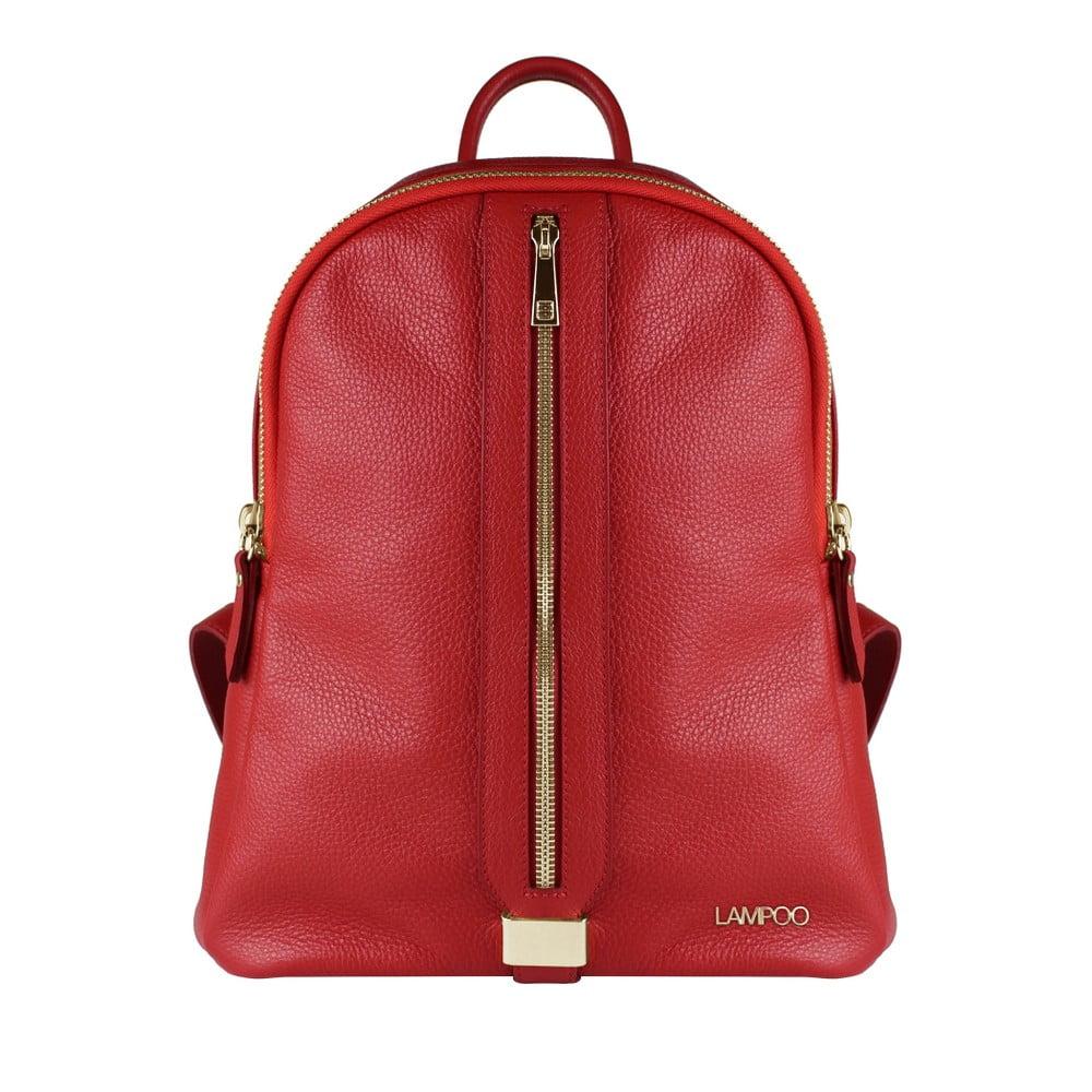 Červený kožený batoh Lampoo Kassa