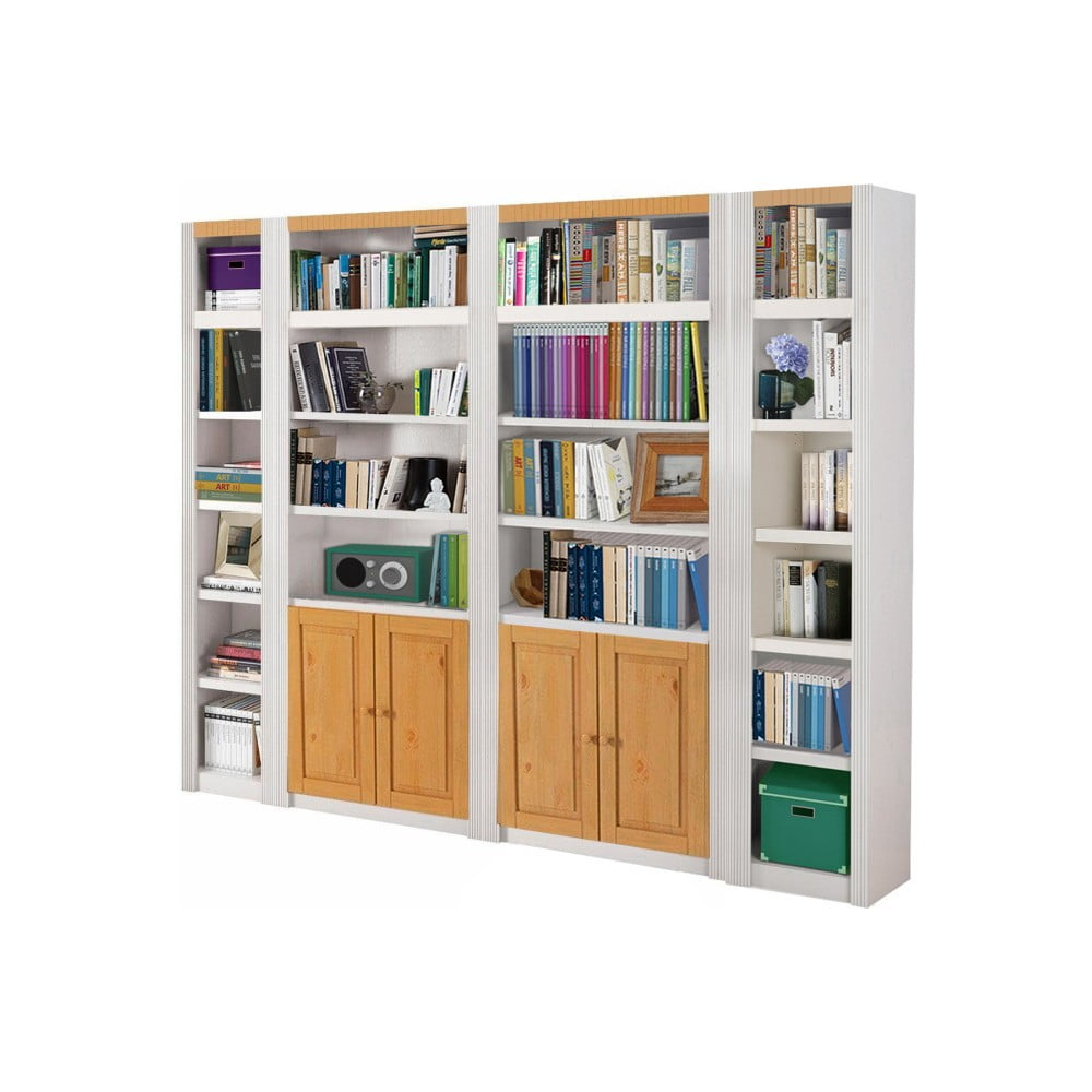 Bílá knihovna z borovicového dřeva Støraa Baylee Wall, šířka 2,55m