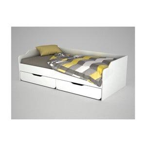 Bílá dřevěná jednolůžková postel Young