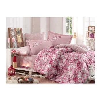 Lenjerie de pat și cearșaf din bumbac satinat Romina Pink, 200 x 220 cm de la Hobby