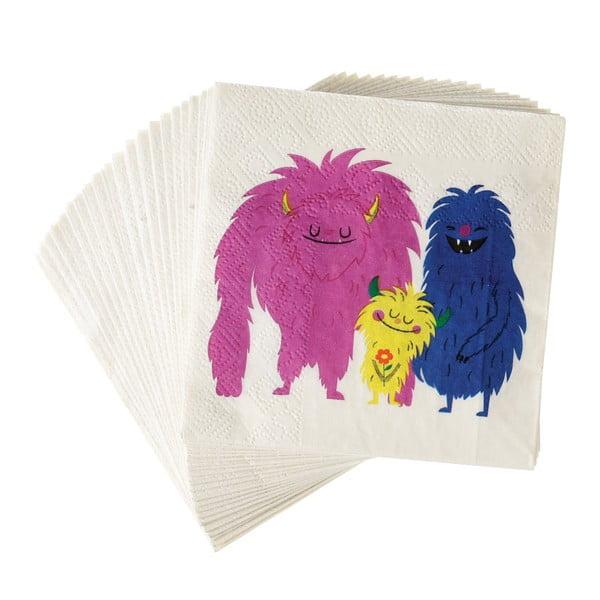 Sada 40 ks papírových ubrousků Rex London Monsters Of The World