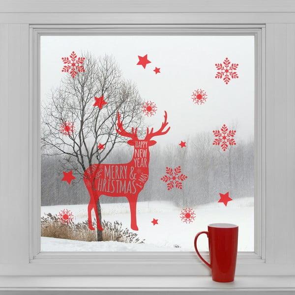 Elektrostatické vánoční samolepky Vánoční sob