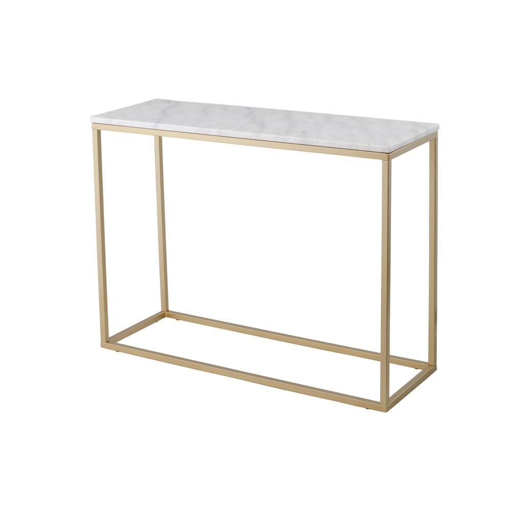 Mramorový konzolový stolek s konstrukcí v barvě mosazi RGE Accent, výška75cm RGE