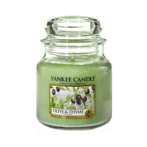 Vonná svíčka Yankee Candle Olivy a Tymián, doba hoření 65 - 90 hodin