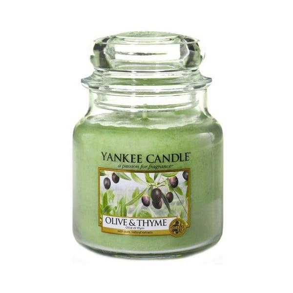 Vonná sviečka Yankee Candle Olivy a Tymián, doba horenia 65 - 90 hodín