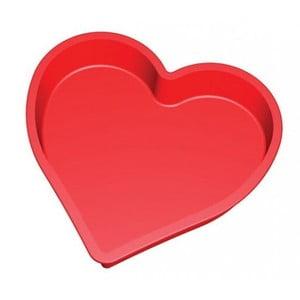 Červená silikonová forma ve tvaru srdce na pečení Lékué