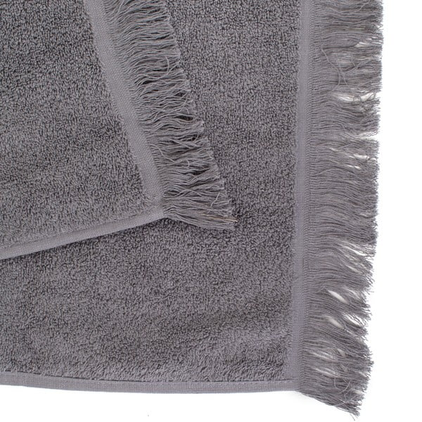 Set 2 šedých bavlněných osušek a6ručníků Casa Di Bassi Soft