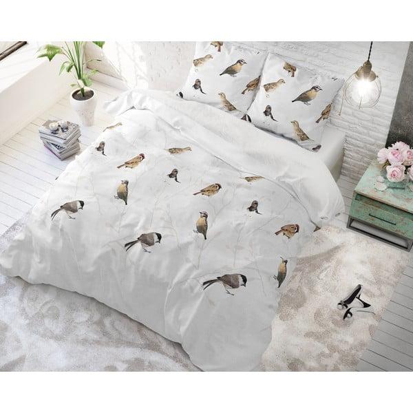 Povlečení s příměsí bavlny na dvoulůžko Sleeptime Birdy, 200 x 220 cm