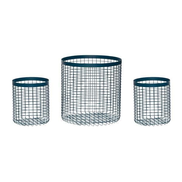 Wire Perrio 3 db kék tárolókosár - Hübsch