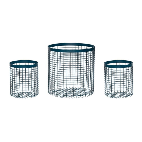 Komplet 3 niebieskich koszyków Hübsch Wire Perrio