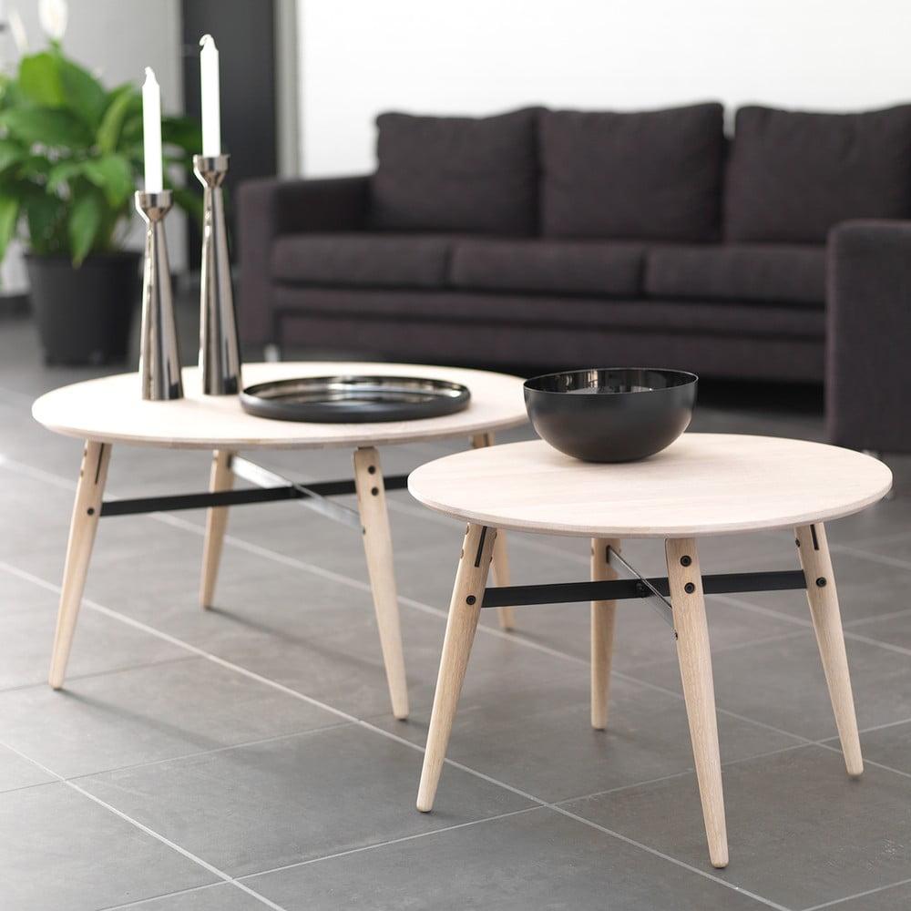 Bílý konferenční stolek Canett Exact, ⌀ 80 cm
