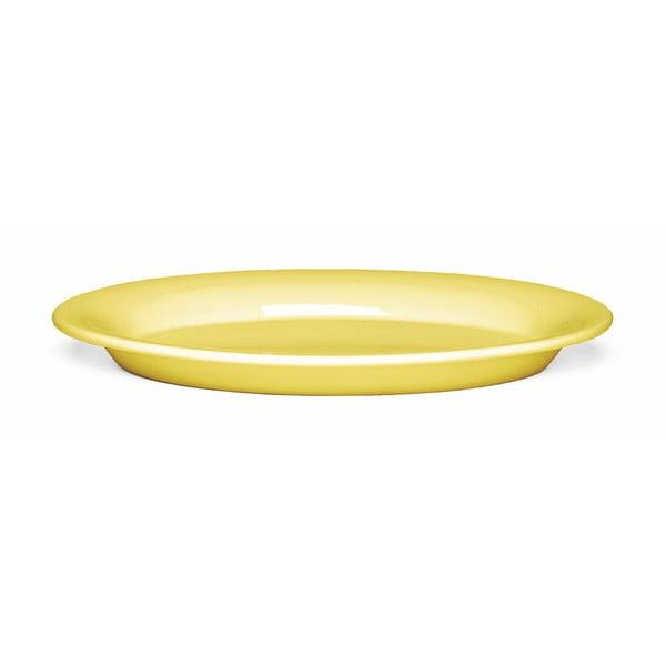 Žlutý oválný oválný kameninový talíř Kähler Design Ursula, 28 x 18,5 cm