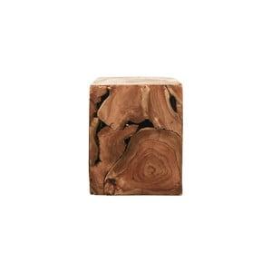 Příruční stolek z teakového dřeva HSM collection Cube, 25 x 30 cm