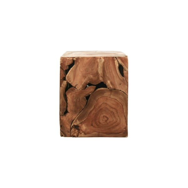 Príručný stolík z teakového dreva HSM collection Cube, 25×30 cm