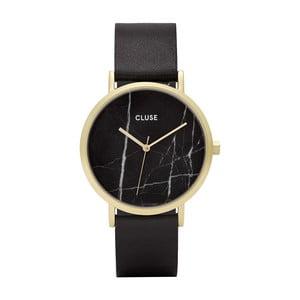 Ceas damă cu curea din piele şi cadran marmorat Cluse La Roche Rose, negru