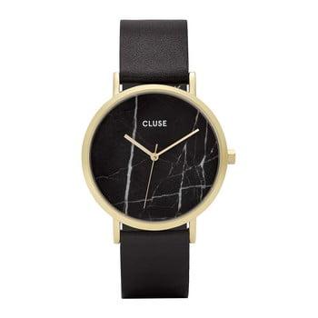 Ceas damă cu curea din piele şi cadran marmorat Cluse La Roche Rose negru