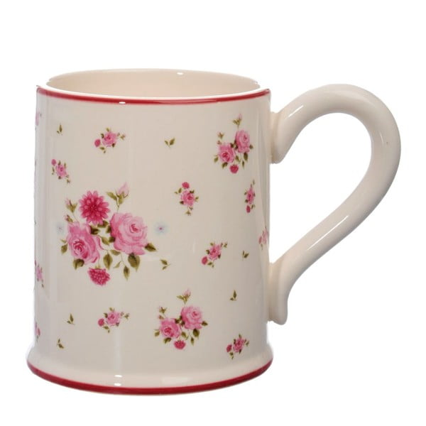 Keramický hrnek Rose, pink/white
