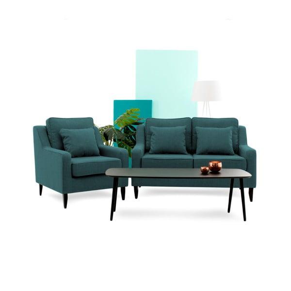Canapea cu 2 locuri Vivonita Bond, turcoaz