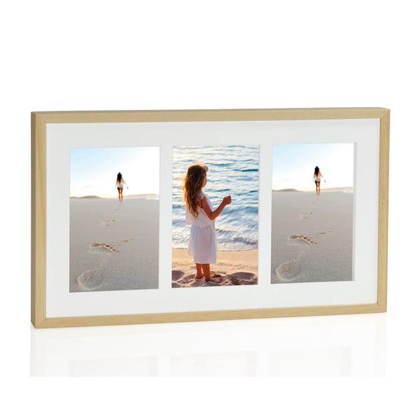 Fotorámeček na tři fotky Natura 10x15 cm, přírodní