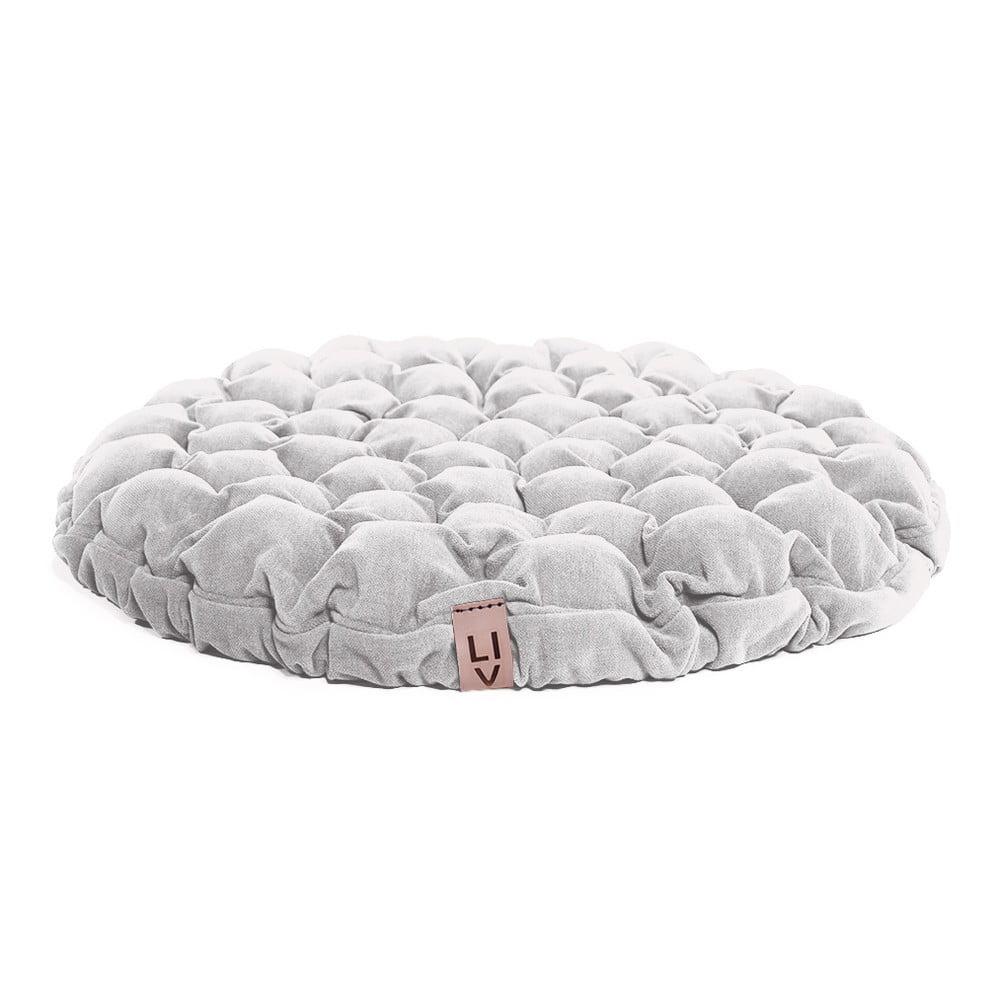 Bílý sedací polštářek s masážními míčky Lindy Vrňáková Bloom, Ø75cm