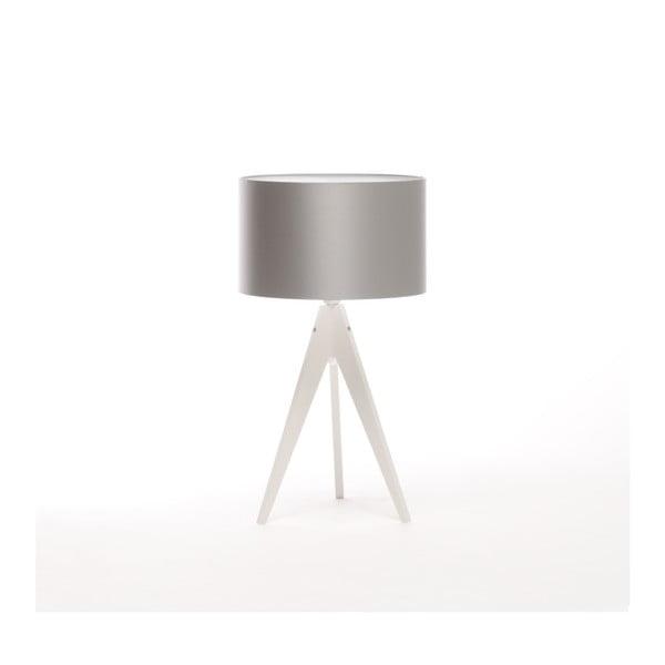 Stříbrná stolní lampa 4room Artist, bílá lakovaná bříza, Ø 33 cm