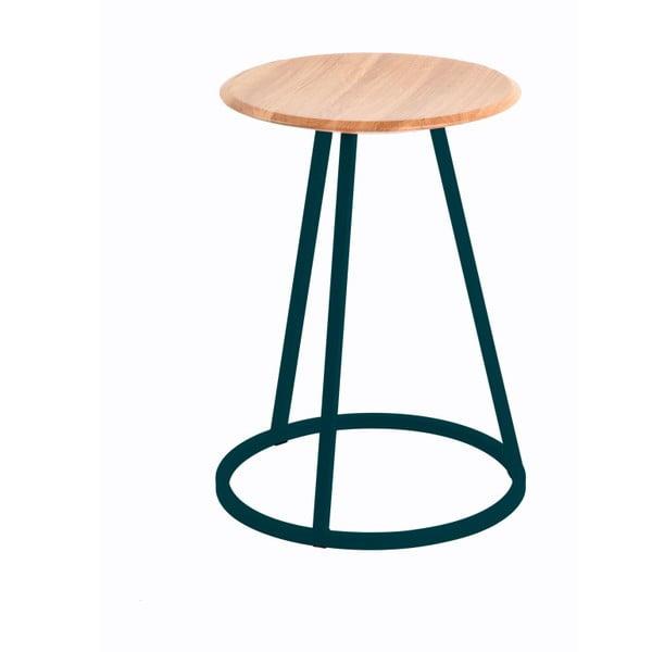 Stolička s dubovou deskou a petrolejově modrou kovovou konstrukcí HARTÔ Gustave, výška 45cm