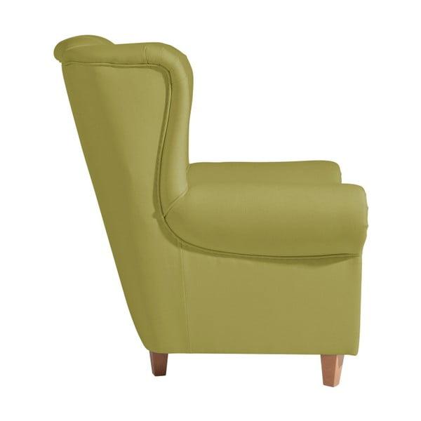 Zelené křeslo ušák Max Winzer Vary Leather Green
