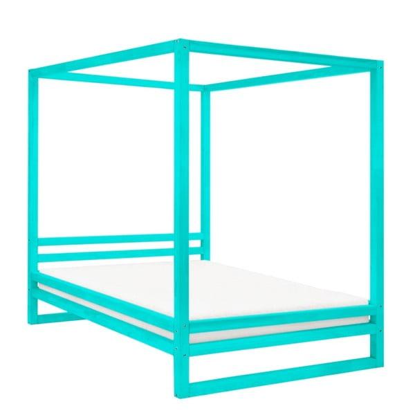 Tyrkysovomodrá drevená dvojlôžková posteľ Benlemi Baldee, 200 × 180 cm