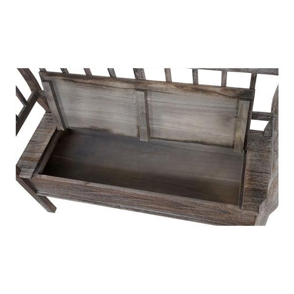 Hnědá dřevěná lavice s úložným prostorem a podsedákem Mendler Shabby